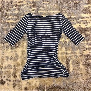 Boden Striped Blue/White Top Ruched Sides 2